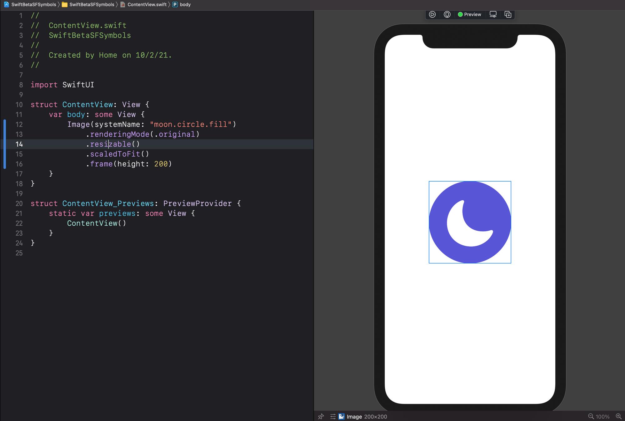Xcode mostrando un icono de SF Symbols 2.0 en SwiftUI