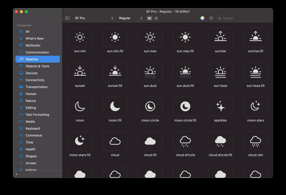 SF Symbols 2.0 mostrando iconos de la categoría de Weather